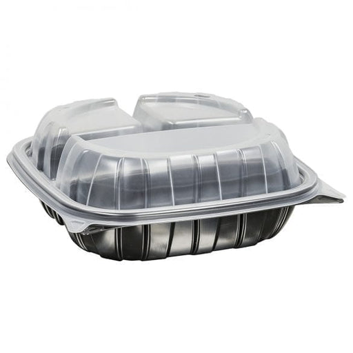 "8"" Rigid 3 Compartment Microwavable Carry Out Container (138 Per Case)"