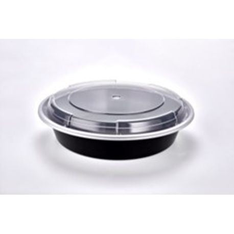 "Sunrise Brands SR-9048B - 9"" 48 oz. Microwaveable Round Container and Lid Combo, Black Base/Clear Lid, 150 ct."