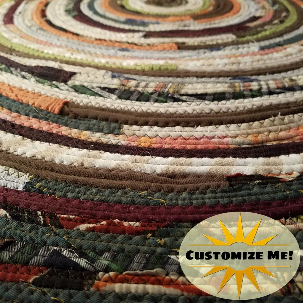 2 Colorful Round Rug Handmade To Order You Choose Colors! Gypsy Boho Bohemian Upcycled