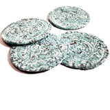 Teal Bandana Fabric Coasters, Handmade, Set of 4, Made to Order - 43 Boho Street