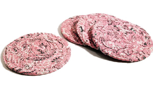 Pink Bandana Fabric Coasters, Handmade, Set of 4, Made to Order - 43 Boho Street