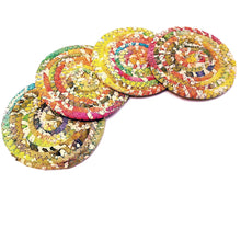 Load image into Gallery viewer, Multicolor Fabric Coasters, Bright & Sunny, Handmade, Set of 4, Made to Order - 43 Boho Street