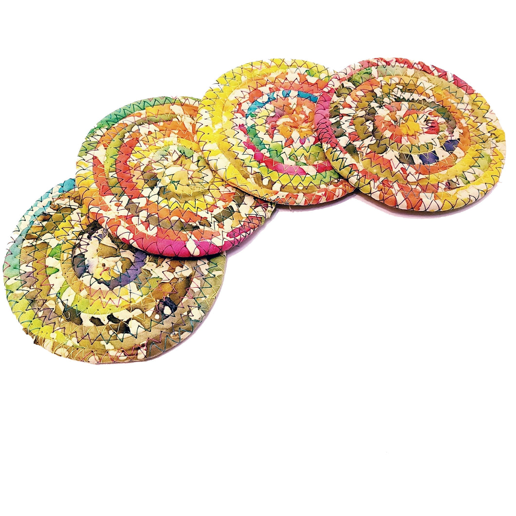 Multicolor Fabric Coasters, Bright & Sunny, Handmade, Set of 4, Made to Order - 43 Boho Street