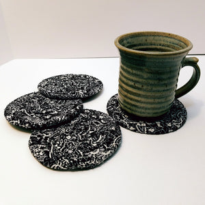 Black Bandana Fabric Coasters, Handmade, Set of 4, Made to Order - 43 Boho Street
