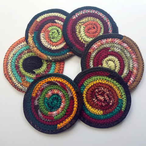 Fall Colors Fabric Coasters Set of 4 Autumn Theme, Handmade, Cloth Drink Coasters - 43 Boho Street