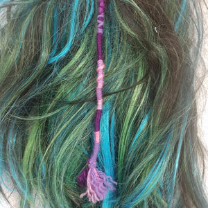 Purple Hair Wrap Accessory Hippie Colors for Dreadlocks and Braids