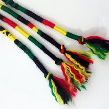 Load image into Gallery viewer, Rasta Colors Hair Wrap Accessory Hippie Colors for Dreadlocks and Braids