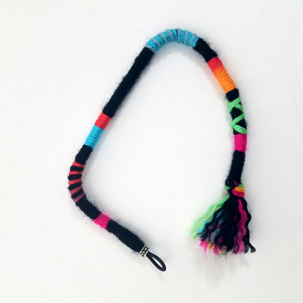 Black with Bright Color Pops Hair Wrap Accessory Hippie Colors for Dreadlocks and Braids You Choose Colors