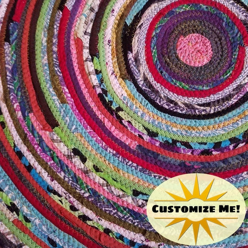 3 Colorful Round Rug Handmade To Order You Choose Colors! Gypsy Boho Bohemian Upcycled