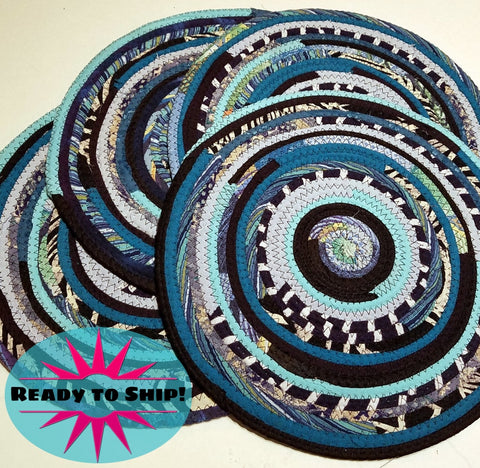 4 Turquoise Table Mats Handmade Placemats Round Multicolor Ready To Ship!