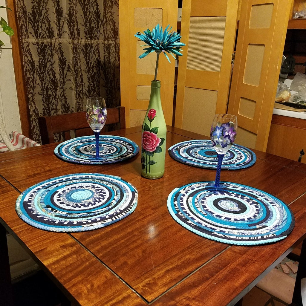 4 Turquoise Table Mats Handmade Placemats Round