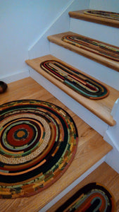 CUSTOM Stair Treads & Carpet Runners: You Choose Size, Color, Pattern, Oval Shaped Stair Pads treads- 43 Boho Street