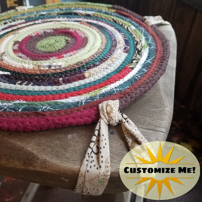 Custom Chair Pads, Round, Handmade, You Choose Size & Color