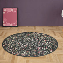 Load image into Gallery viewer, Handmade 42 Round Area Rug Black With Pink And Yellow Pattern Bohemian Chic Rug