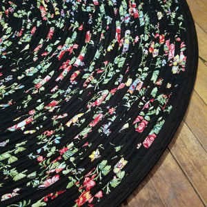 Handmade 42 Round Area Rug Black With Pink And Yellow Pattern Bohemian Chic Rug