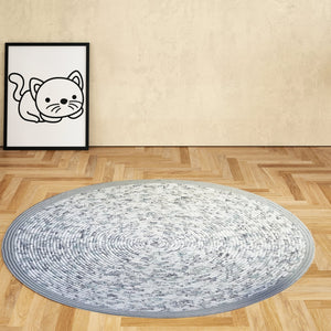 Handmade 42 Round Area Rug Traditional Gray White W/light Blue Floral Pattern Bohemian Chic R2S Rug