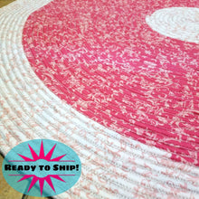 Load image into Gallery viewer, Handmade 42 Round Area Rug Two Tone Pink Pattern Bohemian Chic Rug