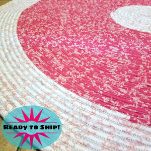 Handmade 42 Round Area Rug Two Tone Pink Pattern Bohemian Chic Rug