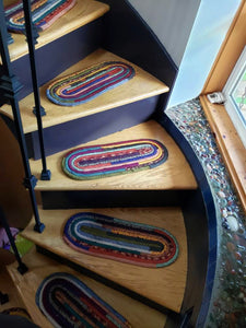 CUSTOM Stair Treads & Carpet Runners: You Choose Size, Color, Pattern, Oval Shaped Stair Pads