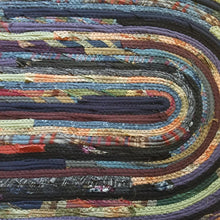 Load image into Gallery viewer, Large Oval Floor Rug Handmade Made To Order Coiled Fabric Gypsy Boho Bohemian Upcycled