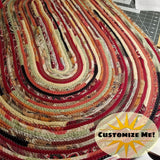 Large Oval Floor Rug Handmade Made To Order Coiled Fabric Gypsy Boho Bohemian Upcycled
