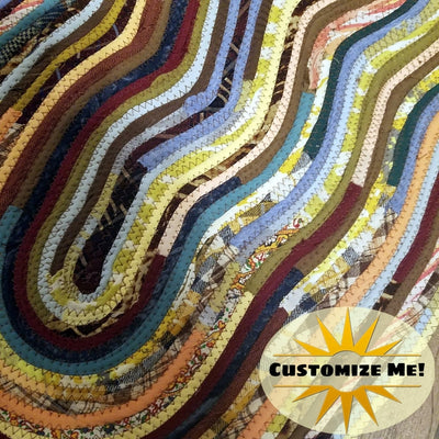 M2O Abstract Art Multicolor Oval Floor Mat Throw Rug Made to Order Handmade