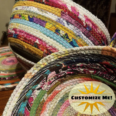 "M2O Multicolor Jeweled Fabric Basket, Made to Order, You CHOOSE Colors, 9"" Diameter Upcycled"