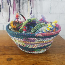 Load image into Gallery viewer, M2O Multicolor Jeweled Fabric Basket Made To Order You Choose Colors 9 Diameter Upcycled Eco