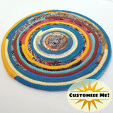M2O Multicolor Kitchen Table Mat Sunrise Southwestern (Exact Colors Will Vary) Round Fabric Placemat