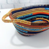 M2O Multicolor Oval Fabric Basket Made To Order You Choose Colors Upcycled Eco Friendly Bohemian