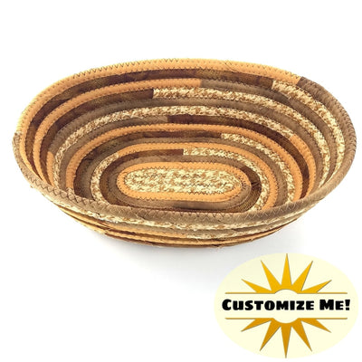 M2O Multicolor OVAL Fabric Basket, Made to Order, You CHOOSE Colors, Upcycled, Bohemian Style