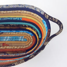 Load image into Gallery viewer, M2O Multicolor Oval Fabric Basket Made To Order You Choose Colors Upcycled Eco Friendly Bohemian