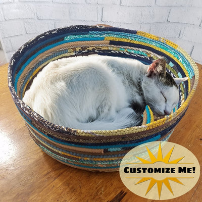 M2O Pet Basket, Pet Bed, Dog Bed, Cat Bed, Multicolor Jeweled Extra Large Fabric Bowl Made to Order