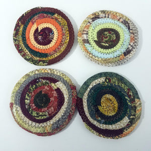Earth Colors Fabric Coasters Set of 4, Handmade, Coiled Rope, Hippie, Cloth Drink Coasters - 43 Boho Street