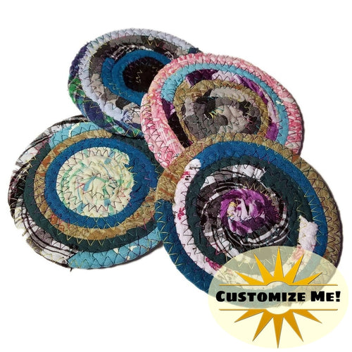 Multicolor Fabric Coasters Set Of 4 Made To Order Colors Will Vary