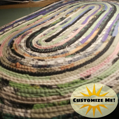 Multicolor Oval Floor Mat Door Throw Rug Made To Order Choose Your Colors