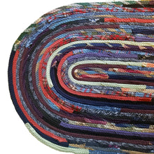 Load image into Gallery viewer, Multicolor Oval Floor Mat Handmade Bathroom Kitchen One Of A Kind Ready To Ship!