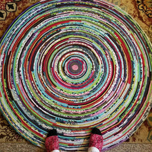 Load image into Gallery viewer, Multicolor Round Rug 4-Foot Bohemian Hippie Colors Ready To Ship!