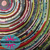 Multicolor Round Rug 4-Foot Bohemian Hippie Colors Ready To Ship!