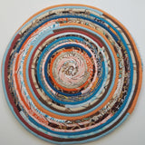 R2S 18 Round Table Mat Southwestern/sunrise Colors Handmade Multicolor Upcycled