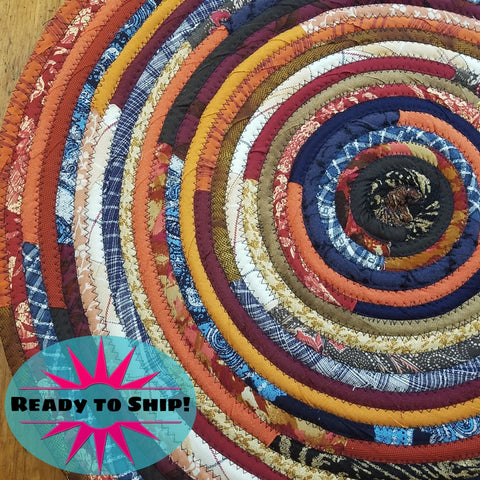 R2S 24 Round Rug Dark Bohemian Colors Floor Mat Handmade Multicolor Upcycled