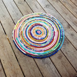 R2S 24 Round Rug Floor Mat Handmade Multicolor Upcycled