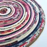 R2S 24 Round Rug Handmade Pink Colors Floor Mat Multicolor Upcycled