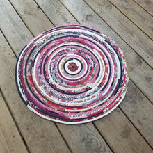 Load image into Gallery viewer, R2S 24 Round Rug Handmade Pink Colors Floor Mat Multicolor Upcycled
