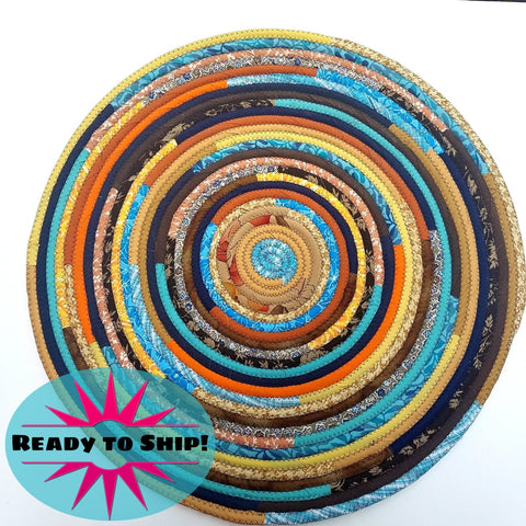 R2S 24 Round Rug Sunrise/southwest Colors Floor Mat Handmade Multicolor Upcycled