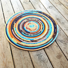 Load image into Gallery viewer, R2S 24 Round Rug Sunrise/southwest Colors Floor Mat Handmade Multicolor Upcycled