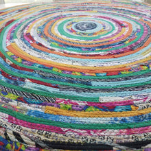 Load image into Gallery viewer, R2S 3 Foot Round Rug Multicolors Floor Mat Handmade 36 Upcycled