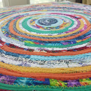 R2S 3 Foot Round Rug Multicolors Floor Mat Handmade 36 Upcycled