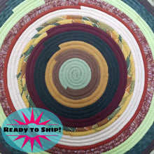 Load image into Gallery viewer, R2S 30 Round Rug Floor Mat Banded Earth Tones Handmade Multicolor Upcycled