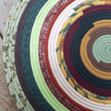 R2S 30 Round Rug Floor Mat Banded Earth Tones Handmade Multicolor Upcycled